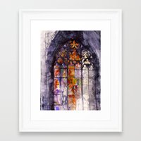 stained glass Framed Art Prints featuring Stained glass by takmaj