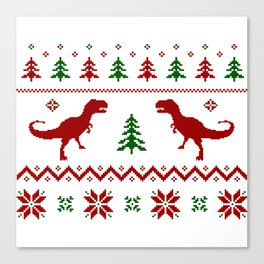 Christmas Ugly Dinosaur Sweater pattern Canvas Print