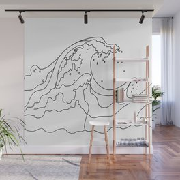 Minimal Line Art Ocean Waves Wall Mural