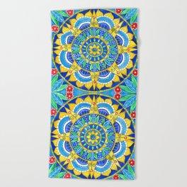 Sunflower Mandala Beach Towel