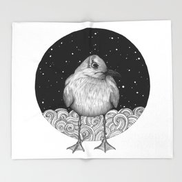 Seagull on a Starry Night Throw Blanket