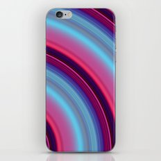 Curved Streaks of pink and blue iPhone & iPod Skin