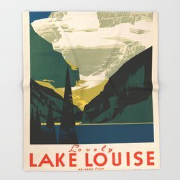 Lovely Lake Louise vintage travel ad Throw Blanket