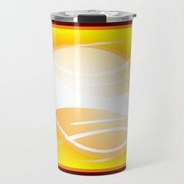 Background of white waves. Geometric pattern of white stripes and waves on a yellow background Travel Mug