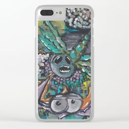 Abstract Pastel Bat/Dragonfly Acrylic Artwork Clear iPhone Case
