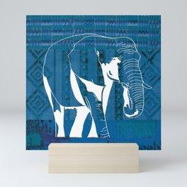 Elephant blue African textile Mini Art Print