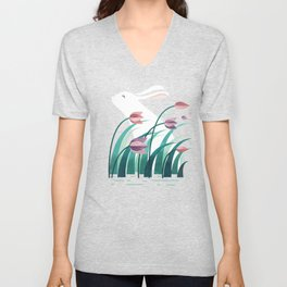 Rabbit, Resting Unisex V-Neck