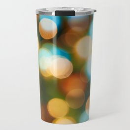 Abstract holiday Christmas background with blue and yellow Travel Mug