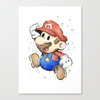 mario Canvas Prints featuring Mario Watercolor by Olechka