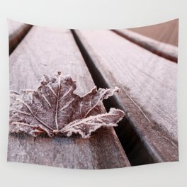 Frosty leaf Wall Tapestry
