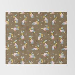Tangram Bunnies M+M Nutmeg by Friztin Throw Blanket