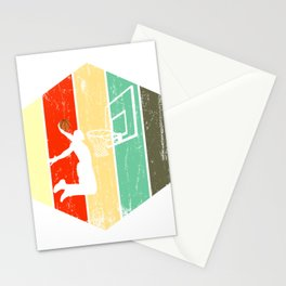 A Basketball Tee For Players With A Vintage Retro Silhouette Of A Man Showing His Skills T-shirt Stationery Cards