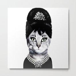 Audrey hepburn cat Metal Print
