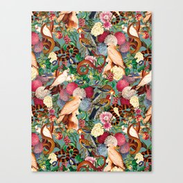 Floral and Animals pattern Canvas Print