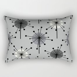 Atomic Era Sputnik Starburst Flowers Gray Rectangular Pillow