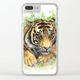 Tiger Watercolor Portrait Clear iPhone Case