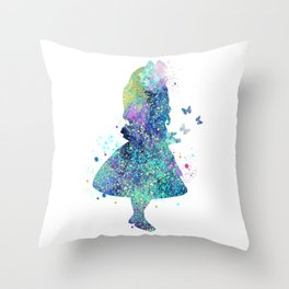 Watercolor Slatter Alice In Wonderland Throw Pillow