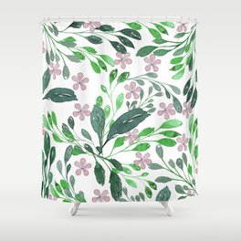 Forest green blush pink watercolor floral Shower Curtain