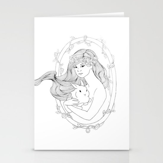 Rabbit Heart-Line Drawing Stationery Cards
