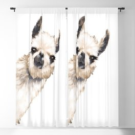 Sneaky Llama White Blackout Curtain