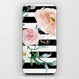 Rose Arrangement on Black Stripes No. 1 iPhone Skin