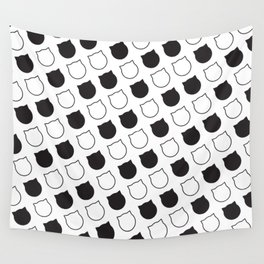 Polka Cat - Black Wall Tapestry