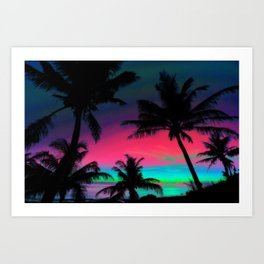 Deep Pink Palm Tree Sunset Art Print