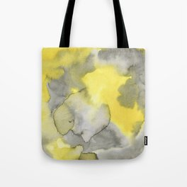 Hand painted gray yellow abstract watercolor pattern Tote Bag