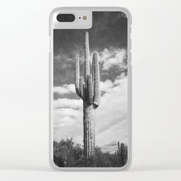 Cactus Photograph in Black and White Clear iPhone Case