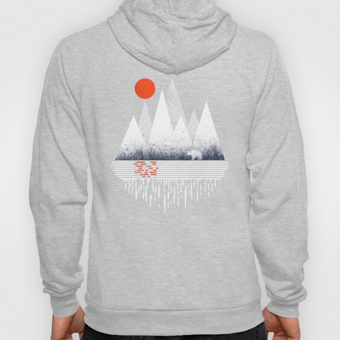 Chill of Winter - Geometric mountains polar bear with sun and melting Hoody