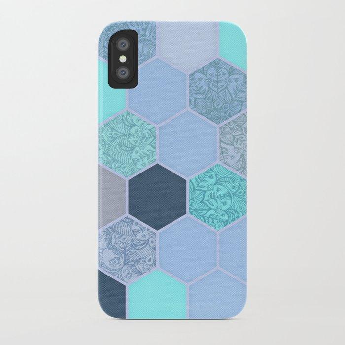 Denim Blue, Aqua & Indigo Hexagon Doodle Pattern iPhone Case