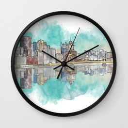 Pittsburgh Sunset Wall Clock