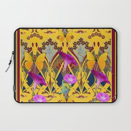 Charcoal Grey & Fuchsia Floral Yellow Butterflies Art Laptop Sleeve
