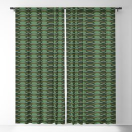 Geometric pattern with waves and pebbles in green Blackout Curtain