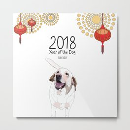 Year of the Dog - White Labrador Metal Print