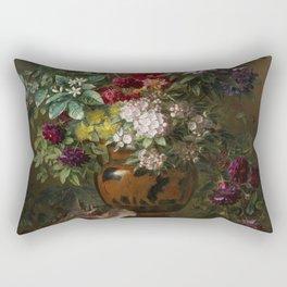 Georgius Jacobus Johannes Van Os - Still Life With Flowers In A Greek Vase, Allegory Of Spring Rectangular Pillow