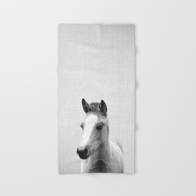 Baby Horse Black White Hand Bath Towel By Galdesign Society6