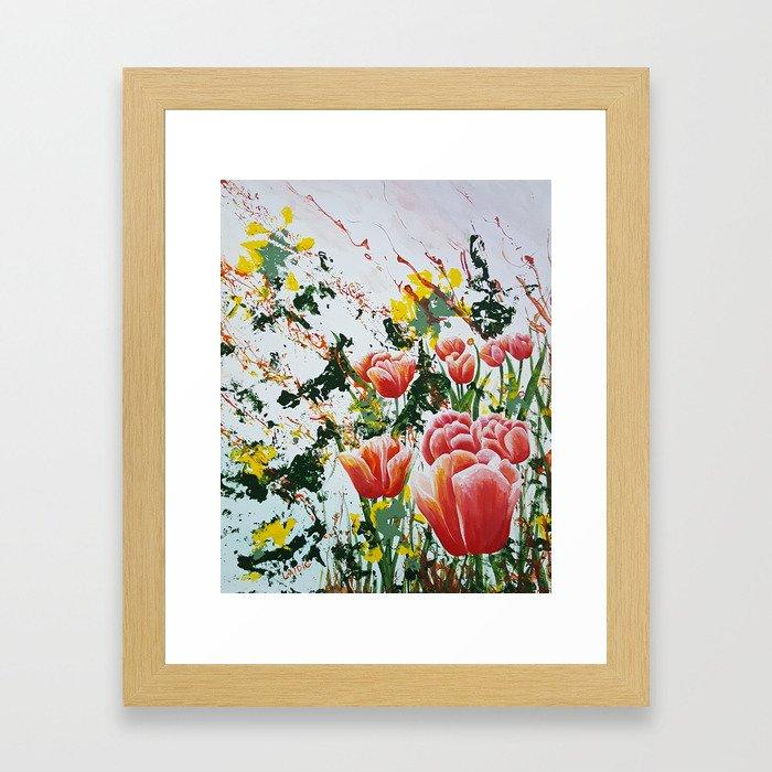 Edge of a tulip garden Framed Art Print