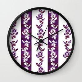 Striped in plumful florals Wall Clock