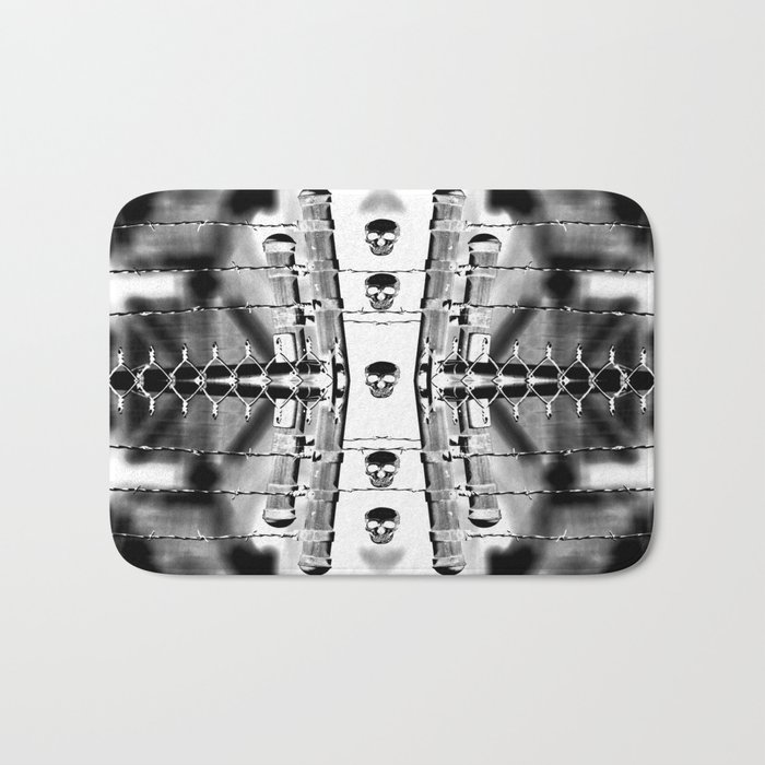 Skirting the Oblivion Fence in Black and White Bath Mat