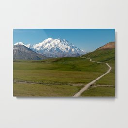 Clear sunny day in Denali National Park with the road leading to an unobstructed Mt. Denali Metal Print