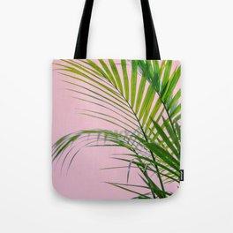 Palm leaves paradise in pink Tote Bag