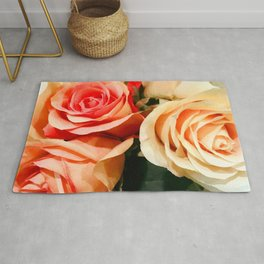 Summer Soft Roses in Red, Peach and Yellow Rug