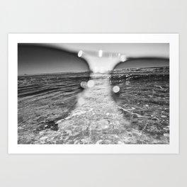 Monochrome Idyllic beach day. Art Print