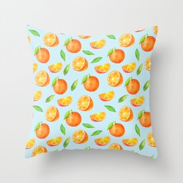 Watercolor Oranges Pattern 3 Throw Pillow