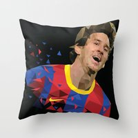 messi Throw Pillows featuring Messi  by Abhikreationz