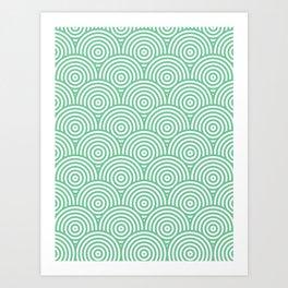 Scales - Green & White #353 Art Print