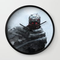 the winter soldier Wall Clocks featuring Winter soldier by Kirk Pesigan