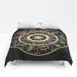 Vintage Zodiac & Astrology Chart | Charcoal & Gold Comforters