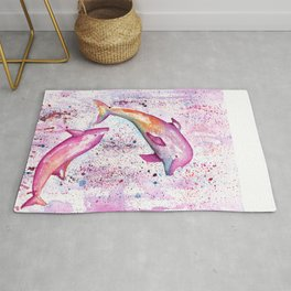Dolphins Painting Illustration Rug